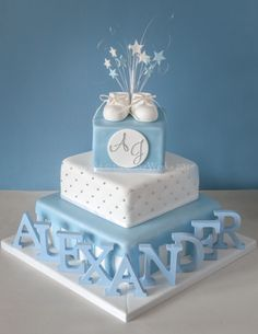 Baptism Cake Ideas For Adults Christening Best Images On Baking Fours And Sugar Baby Boy Christening Cake, Baby Boy Cakes, Baby Boy Christening Decorations, Baby Shower Cakes For Boys, Torta Baby Shower, Bolo Fake Eva, Bolo Minnie, Cake Works, Cake Makers