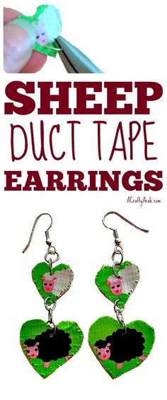 You can make your own duct tape sheep earrings with left over shipping materials. Duct Tape Earrings, Duct Tape Jewelry, Diy Jewelry, Projects For Kids, Crafts For Kids, Art Projects, Duck Tape Crafts, Ramadan Crafts, Blog Love
