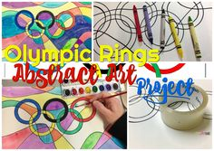 Olympic Rings Abstract Art Project- fun and simple art project based on the Olympic Rings. My After School Art Class is doing an Olympics art project! Learn the history of the Olympic games. Understand the meaning of the Olympic rings