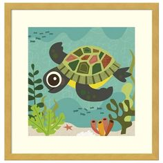 Terrance Turtle Framed Wall Art ($200) ❤ liked on Polyvore featuring home, home decor, wall art, natural, vertical wall art, colorful wall art, nautical home decor, turtle home decor and turtle wall art