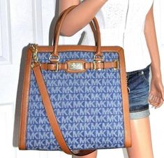 2402c6038b8a MICHAEL KORS Signature Hamilton Handbag Purse Blue Tote Brown Leather Trim  NWT #MichaelKors #ShoulderBag