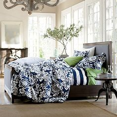 Navy and white duvet.  Company Store