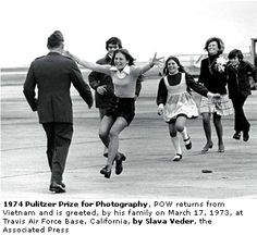 1974. A Pulitzer Prize winning photograph, a Vietnam war veteran reunited with his family after being a prisoner of war for nearly a decade. Amazing moment captured.