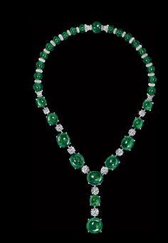 David Morris collar de diamante esmeralda alta joyería redonda cabujón perlas