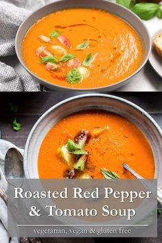 Pureed Vegetable Soup Recipe, Puree Soup Recipes, Roasted Vegetable Soup, Pureed Soup, Tomato Soup Recipes, Chowder Recipes, Tomato Red Pepper Soup, Bell Pepper Soup, Roasted Red Pepper Soup