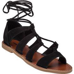STEVE MADDEN Sanndee Black Nubuck Gladiator Sandal ($79) ❤ liked on Polyvore featuring shoes, sandals, black nubuck, black shoes, black flat shoes, flats sandals, lace up flats and gladiator sandals