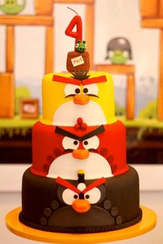ANGRY BIRDS CAKE from this Angry Birds Themed Birthday Party with Lots of Really Fun Ideas via Kara's Party Ideas KarasPartyIdeas.com #angrybirdsparty #boyparties #ang...