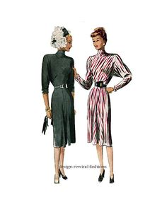 40s COCKTAIL DRESS PATTERN Sophisticated Film Noir Funnel Neck Dress Dolman Sleeves McCall 6701 by DesignRewindFashions Vintage & Modern Sewing Patterns on Etsy