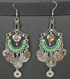 Queen Elizabeth The Second Metal Dangling Earrings with Green Rhinestone and Green Bead Accents- Beautiful!
