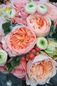Ranunculus and David Austin roses. Luscious flowers in tin cans. More lusciousness at www.myLusciousLife.com