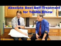 """Absolute Best Self-Treatment, Exercises, & Stretches. """"Famous"""" Physical Therapists Bob Schrupp and Brad Heineck present the absolute best self-treatment, exercises, and stretches for tennis elbow or lateral … source Tennis Elbow Relief, Tennis Elbow Symptoms, Tennis Elbow Exercises, Tendinitis Elbow, Physical Therapy Exercises, Shoulder Pain Relief, Elbow Pain, Self Treatment, Kinesiology Taping"""