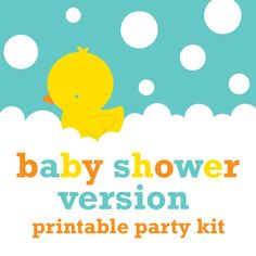 Rubber Ducky Duckie Baby Shower Printable DIY by stockberrystudio