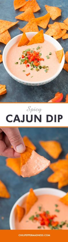 Spicy Cajun Dip - A quick and easy Cajun dip recipe made with roasted red bell pepper, fresh garlic, creamy yogurt and sour cream, and a spicy seasoning blend, perfect for parties when you need big flavor fast.
