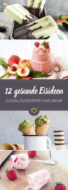 12 healthy ice ideas - clean, sugar-free and more- 12 gesunde Eisideen – clean, zuckerfrei und mehr Without preservatives and flavor enhancers, without refined sugar, but with fresh natural ingredients – so you conjure ice for good conscience. Cupcake Recipes, Baby Food Recipes, Sweet Recipes, Dessert Simple, Köstliche Desserts, Healthy Desserts, Healthy Ice Cream, Homemade Baby Foods, Homemade Ice