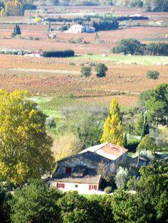 les vignes en automne   à l'avant-plan : le Domaine de Cabasse