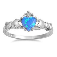 Sterling Silver Blue Opal Claddagh Ring Size 3 4 5 6 7 8 9 10 11 12