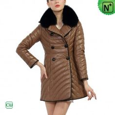 Women's Leather Down Coats CW 681164 - m.cwmalls.com