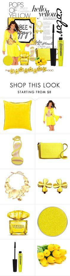 """yellow women..."" by suncenesa ❤ liked on Polyvore featuring One Bella Casa, Surya, Leith, Burberry, Oscar de la Renta, Chanel, Versace, Suva Beauty, Rimmel and PopsOfYellow"