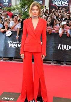 Gigi Hadid in Mugler led the red carpet arrivals on Sunday for the 2016 iHeartRadio Much Music Video Awards in Toronto on June 19, 2016