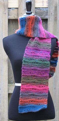 Crocheted Fancy Rolling Waves Scarf Colorful Trendy by Xasper8ing, $75.00