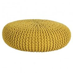 Tesco direct: Homescapes Yellow Knitted Cotton Large Round Pouffe Footstool 70 x 23 cm Crate And Barrel, Mirror Seating Chart, Knitted Pouffe, Large Floor Cushions, Living Room Cushions, Bleu Pastel, Storage Footstool, Cozy Chair, Yellow
