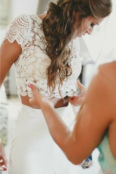 Ideas For Boho Wedding Dress Two Piece Bohemian Bohemian Style Wedding Dresses, Country Wedding Dresses, Chic Wedding, Wedding Gowns, Dream Wedding, Crop Top Wedding Dress, Two Piece Wedding Dress, Crop Dress, Shower Dress For Bride