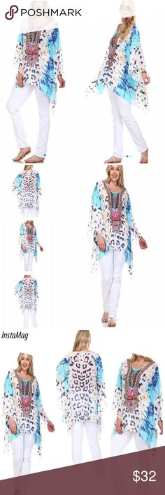 "PRINTED EMBELLISHED CAFTAN Beautiful embellished front on this pretty caftan. Very soft and flowy, great for seaside or at a party, versatile! 65% silk, 35% polyester. Length 32"" on 1X. tla2 Tops Tunics"