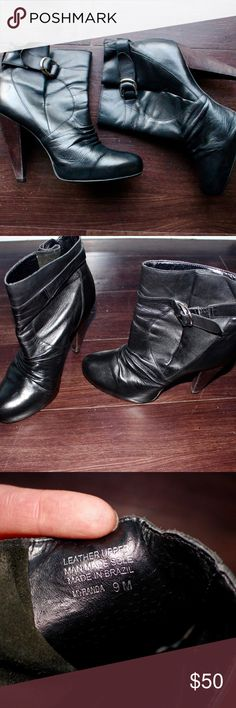 "Steve Madden Black Leather Boots Steve Madden Black leather booties with brown wooden effect heel. Wrinkle effect on the boot. Comfortable and perfect for fall and winter. Worn a few times. Overall great condition except for minor wear.   Measurements: Heel Height approximately 4.5"" Slight platform of approximately 1/2"" Steve Madden Shoes Ankle Boots & Booties"