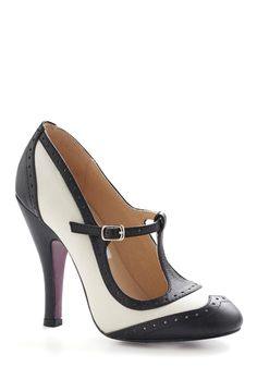 """Black and white t-strap wingtip heel is a """"Be the Buyer"""" pick on ModCloth."""