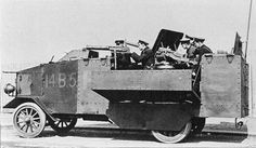 Using a US 5 ton truck chassis, the Admiralty Air Department of the Royal Navy designed a heavy armored car that was intended to back up the machine gun armed vehicles that had been deployed to Belgium at the start of WW1. The vehicle had more of the appearance of a land based patrol boat than that of an armored car.