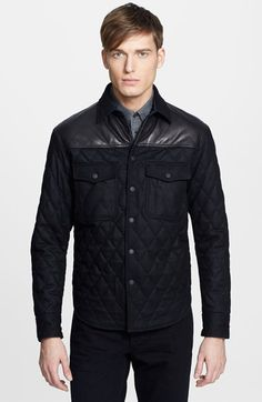 rag & bone Quilted Shirt Jacket with Leather Trim