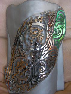 """Teula-3 Luxury Series - Titanium"" - Lighting Sconce - Signed by the glass art creative Josep SanJuan - Tech.: Glass Fusing with Titanium, Gold & Platinum. Height: 38 cm, Width: 24 cm, Weight: 2 kgs. Cat.: Metallic & Dichroic. Ref.: 2013-03-06-00"