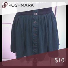 Waistband skirt Dark green skirt with black elastic waistband. Good buttons down the front. Forever 21 Skirts Circle & Skater