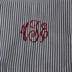 Monogrammed Striped Seersucker Infinity Scarf