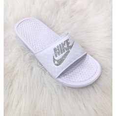 Nike Benassi Jdi Slides Flip Flops Customized With Swarovski Crystals. ($85) ❤ liked on Polyvore featuring shoes, sandals, flip flops, gold, women's shoes, swarovski crystal flip flops, swarovski crystal sandals, sparkly sandals, shiny shoes and special occasion shoes