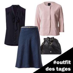 Midi-Rock in Denim-Optik, Viskose-Bluse, Jersey-Blazer und Beuteltasche aus Leder von zero! #zerofashion #outfit #ootd