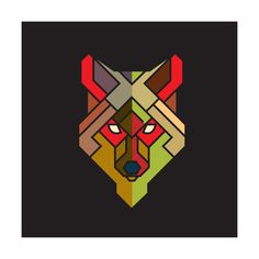 Abstract Wolf Graphic with Colorful Geometric Pattern, Vector Plakaty autor…