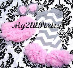 3 piece set Baby Headband-Chiffon Ruffle Bum Baby Bloomer Legwarmers Diaper Cover  SET- Photo Prop- My2lilPixies on Etsy, $22.75
