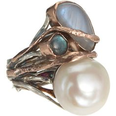 Sandra Dini pearl & labradorite triple stone ring
