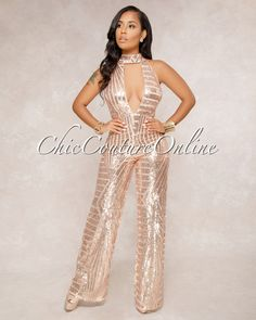 407ebb70acb Playoff Rose Gold Sequins Nude Illusion Halter Jumpsuit