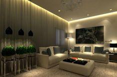 Tolle Deckengestaltung im Wohnzimmer modern dunkel raum