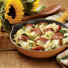 Kielbasa Cabbage Skillet Recipe...I leave out the peppers and onion, it's absolutely fantastic with just the cabbage, butter, water, kielbasa, salt and pepper...I make this at least once a week! YUM!