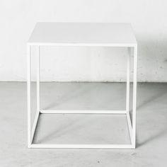 Powder coated white Bedside Table / Night Stand / Modular Mid-Century Modern Minimalist / Handmade Furniture