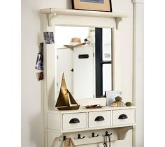 1000 images about small entryway ideas on pinterest Wall mount entryway organizer mirror hallway coat rack key cabinet