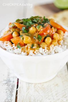 A quick and simple creamy curry dish with chickpeas, veggies, and a hint of coconut! Ready in just 20 minutes, plus it's healthy! @Tiffany {Creme de la Crumb}