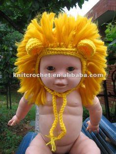 çocuk tığ aslanı Earflaps şapka bere, el şapka örme kız bebek, hayvan şapka tığ fotoğrafı pervane, sipariş üzerine yapılır( kcc- tm0060)-Beb...