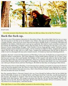 Sorry for the few harsh words but FINALLY! Someone who defends Boromir!