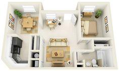 13 - apartamento de um quarto com planta simétrica