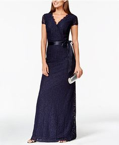 Adrianna Papell Plus Cap-Sleeve Lace Gown - Dresses - Women - Macy's