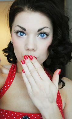 linda hallberg, make up, pin up, pin-up - image on Favim . Pin Up Makeup, Beauty Makeup, Hair Makeup, Hair Beauty, Eye Makeup, Makeup Brushes, Crazy Makeup, Makeup Art, Makeup Stuff